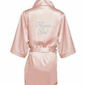 David's Bridal Flower Girl Robe Rhinestones XS